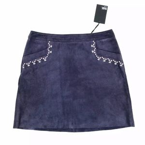 PAIGE Leela IBlue Suede Packets Mini Skirt Size 4